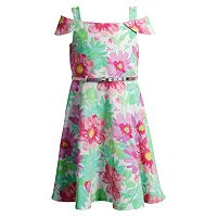 Girls 4-6x Youngland Floral Off-the-Shoulder Dress with Belt