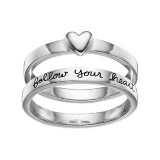 """PRIMROSE Sterling Silver """"Follow Your Heart"""" Ring Set"""
