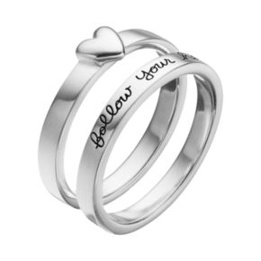 "PRIMROSE Sterling Silver ""Follow Your Heart"" Ring Set"