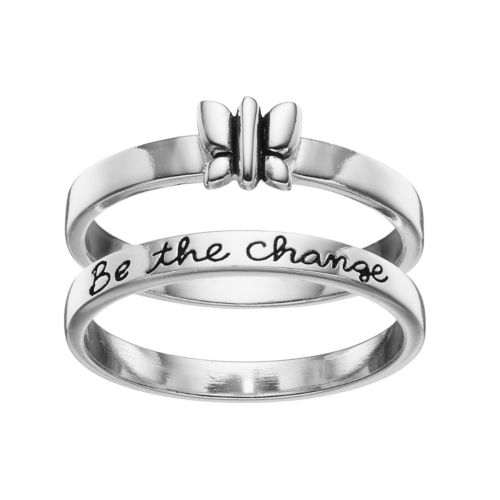 "PRIMROSE Sterling Silver Butterfly ""Be the Change"" Ring Set"