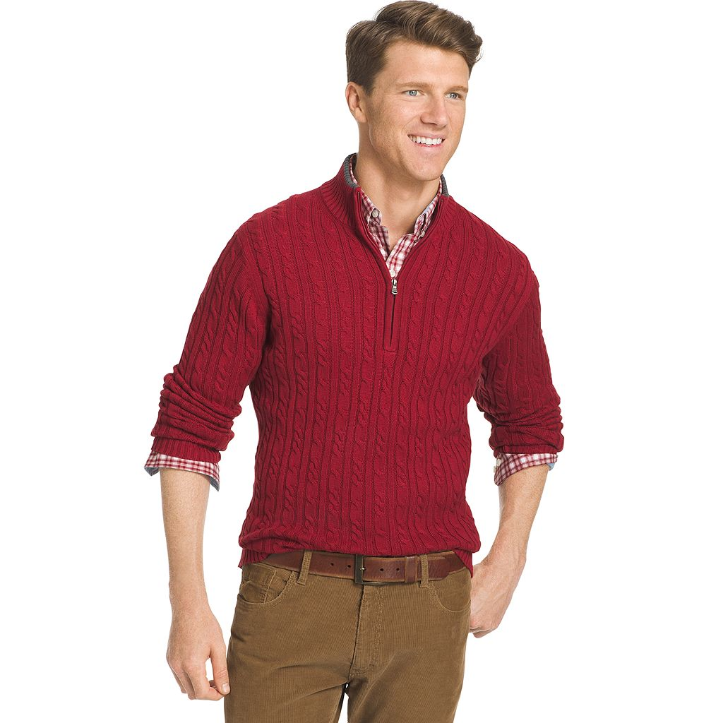 Men's IZOD Classic-Fit 7GG Cable-Knit Quarter-Zip Sweater