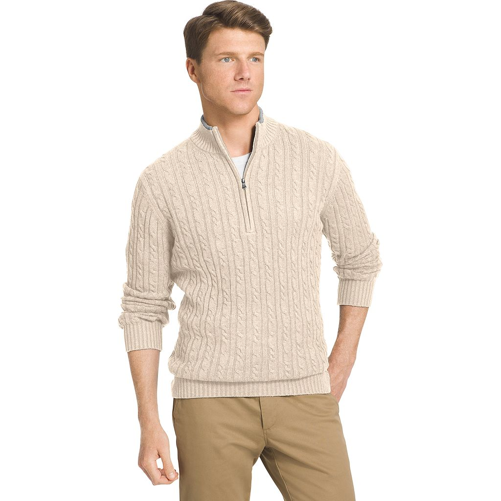 Men's IZOD Classic-Fit 7GG Cable-Knit Quarter-Zip Sweater