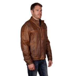 Men's XRAY Detailed Faux-Leather Jacket