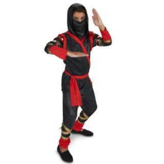 Kids Tough Black & Red Ninja Costume