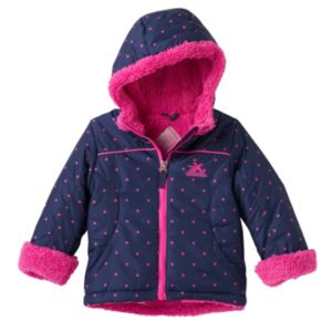 Baby Girl ZeroXposur Midweight Polka-Dot Sherpa-Lined Transitional Jacket