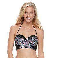 Juniors' Malibu Geometric Underwire Bandeau Bikini Top