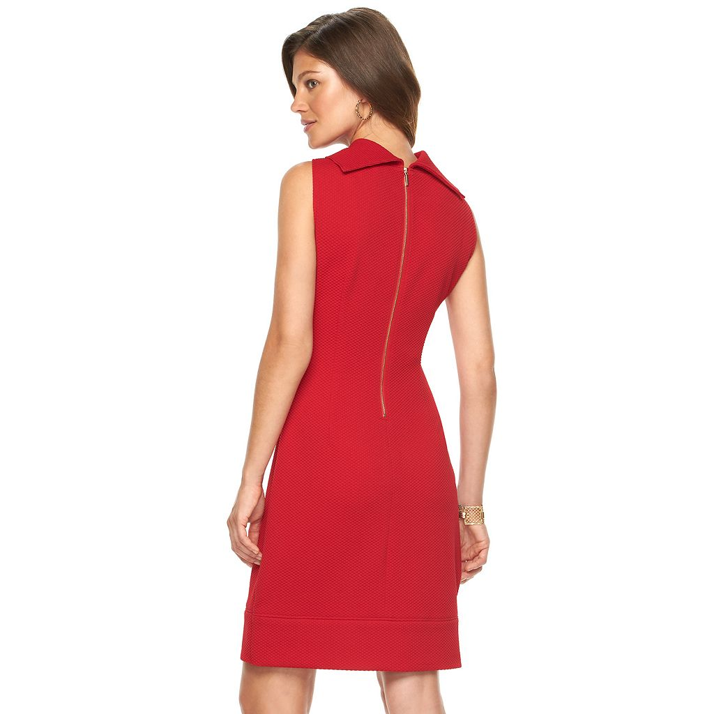 Women's Chaps Textured Cowlneck Sheath Dress