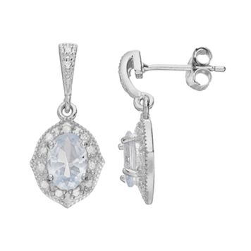 RADIANT GEM Sterling Silver Simulated Aquamarine Halo Drop Earrings