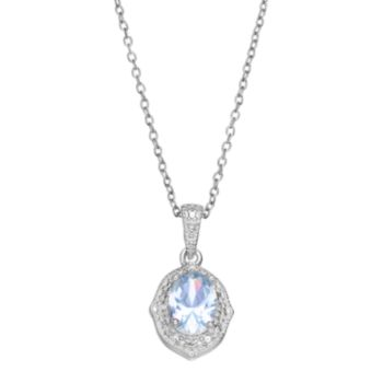 RADIANT GEM Sterling Silver Simulated Aquamarine Halo Pendant