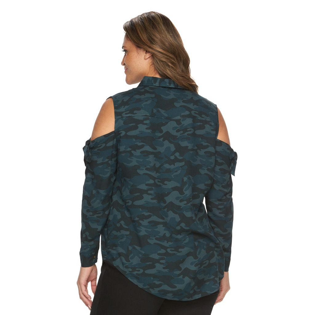 Plus Size Rock & Republic® Camouflage Cold-Shoulder Shirt