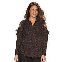 Plus Size Rock & Republic® Camouflage Cold-Shoulder Shirt