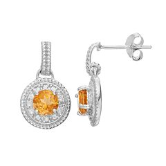 RADIANT GEM Sterling Silver Citrine Disc Drop Earrings