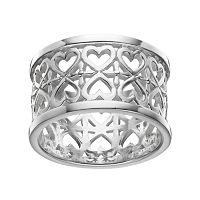PRIMROSE Sterling Silver Double Row Heart Ring