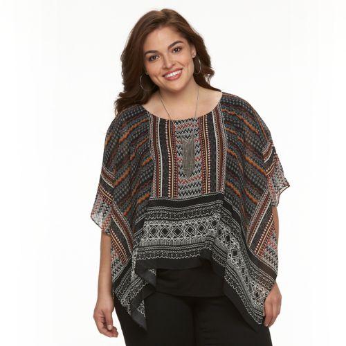Plus Size AB Studio Tribal Print Poncho Top
