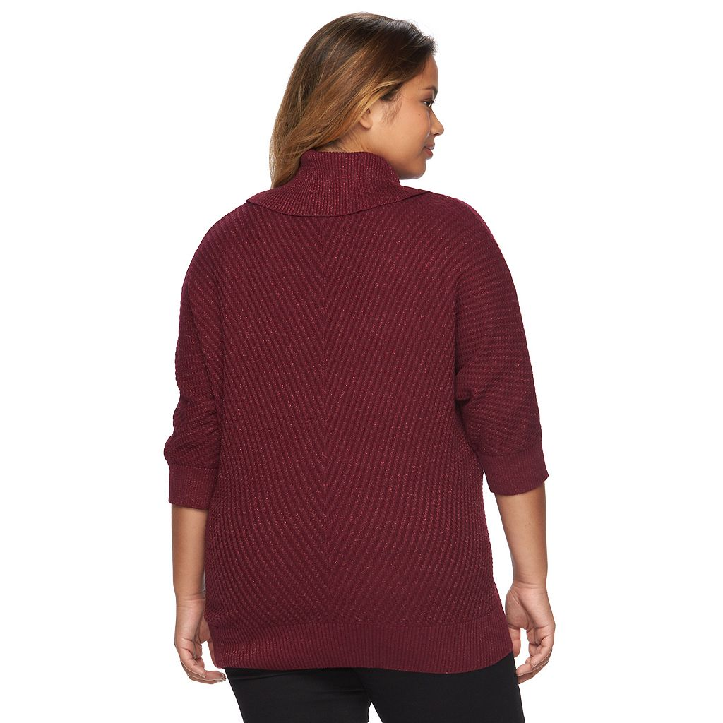 Plus Size AB Studio Lurex Cowlneck Sweater