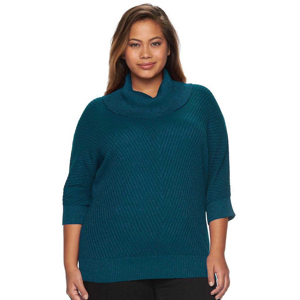 Plus Size AB Studio Lurex Cowlneck Sweater