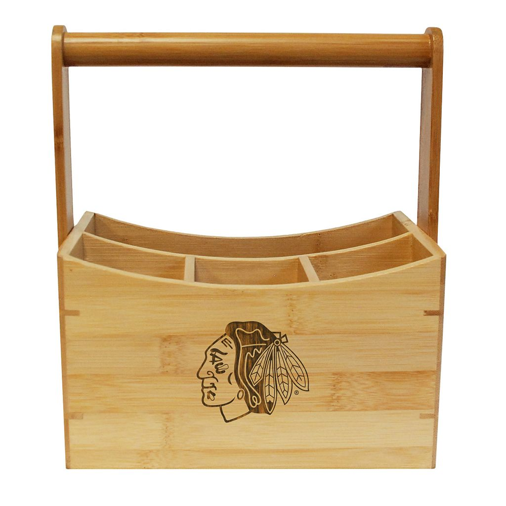 Chicago Blackhawks Bamboo Utensil Caddy