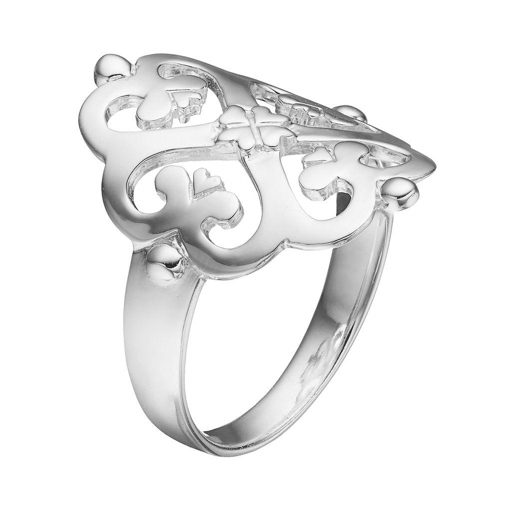 PRIMROSE Sterling Silver Clover Heart Ring