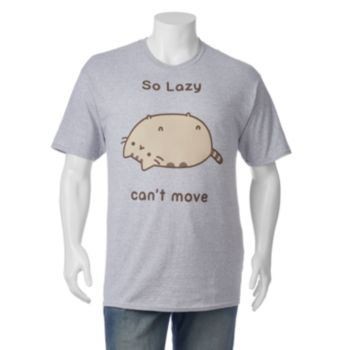 """Big & Tall Pusheen """"So Lazy Can't Move"""" Tee"""
