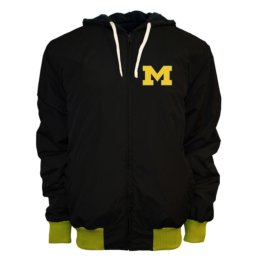 Men's Franchise Club Michigan Wolverines Power Play Reversible Hooded Jacket