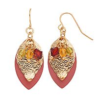 Textured Leaf Overlay Beaded Drop Earrings