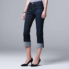 Petite Simply Vera Vera Wang Cuffed Capri Jeans