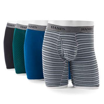 Men's Hanes Ultimate 4-pack Tagless Longer Leg Stretch Boxer Briefs