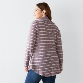 Plus Size SONOMA Goods for Life? Striped Mockneck Sweater