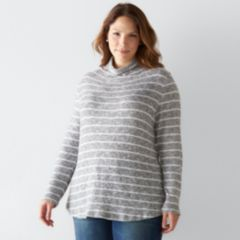 Plus Size SONOMA Goods for Life™ Striped Mockneck Sweater