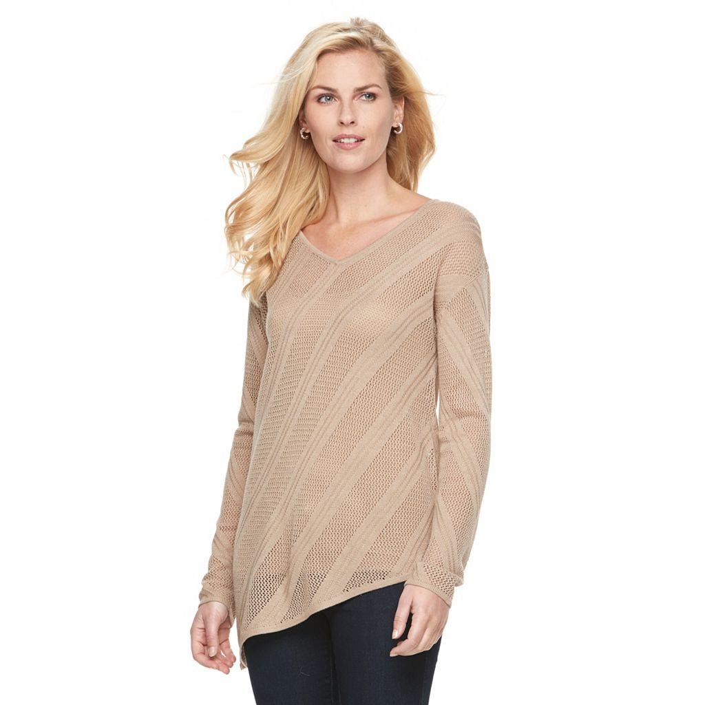 Petite Dana Buchman Pointelle Asymmetrical Sweater