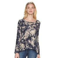 Women's Rock & Republic® Tie-Dye Lace Up Top