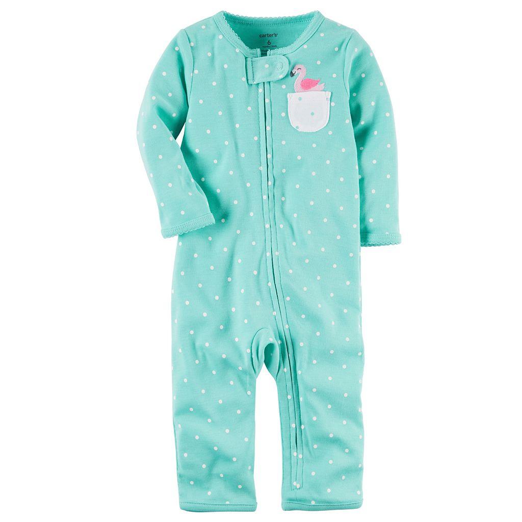 Baby Girl Carter's Polka-Dot Flamingo One-Piece Pajamas