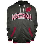 Men's Franchise Club Wisconsin Badgers Power Play Reversible Hooded Jacket