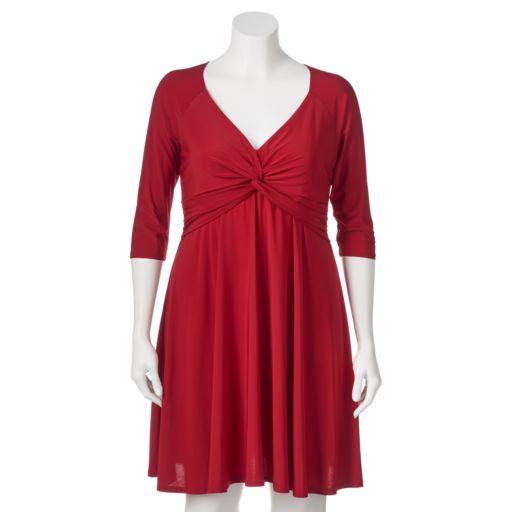 Juniors' Plus Size Wrapper Twist Front Dress