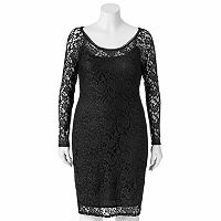 Juniors' Plus Size Wrapper Lace Sheath Dress
