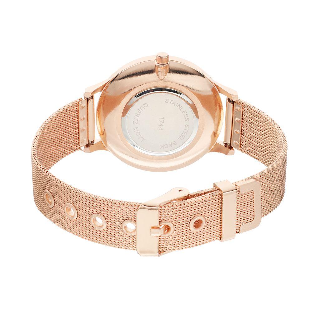 Women's Crystal Mesh Watch & Bangle Bracelet Set