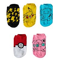 Girls 4-16 Pokemon Pikachu, Wobbuffet & Jigglypuff 5-pk. No-Show Socks