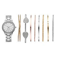 Women's Crystal Watch & Tri Tone Bracelet Set