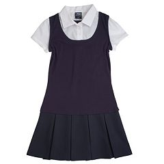 Girls 4-20 French Toast School Uniform Mock-Layer Pleated Dress