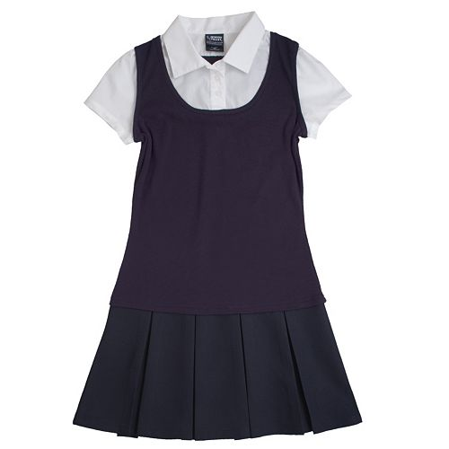 Girls 4-20 French Toast School Uniform Mock-Layer Pleated Dress
