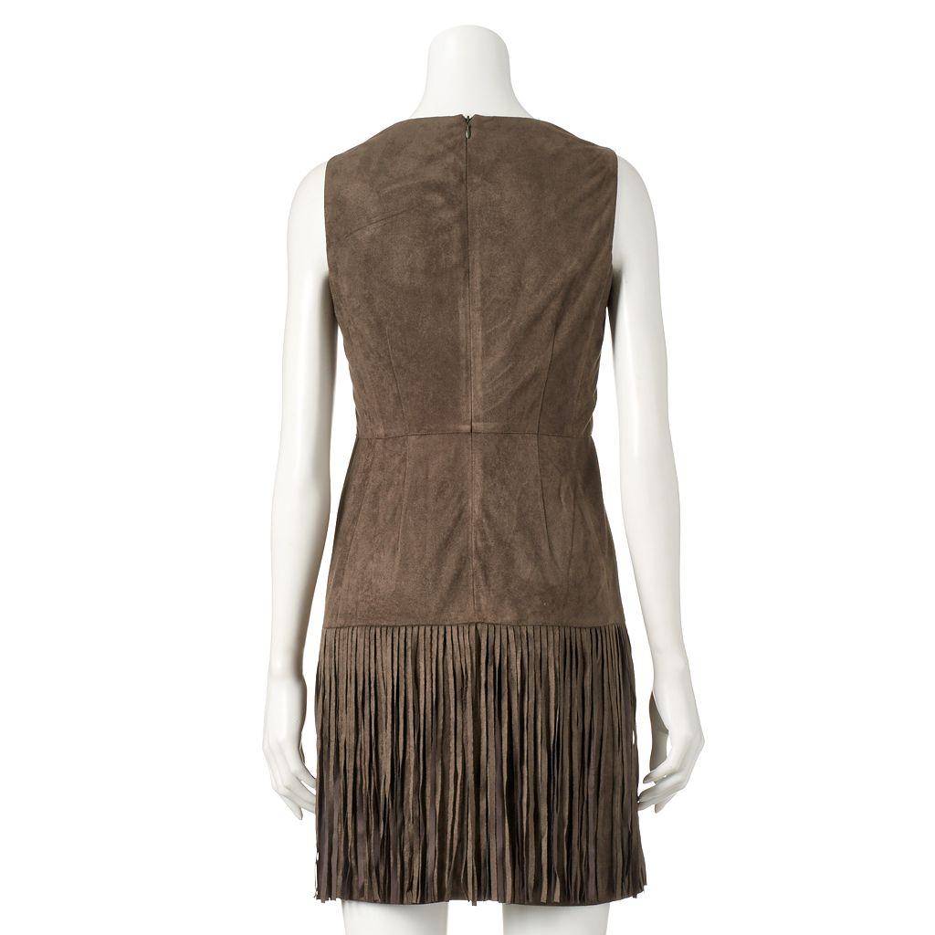 Women's WDNY Black Faux-Suede Fringe Dress