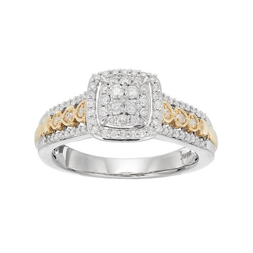 Two Tone 10k Gold 1/2 Carat T.W. Diamond  Cluster Square Halo Engagement Ring