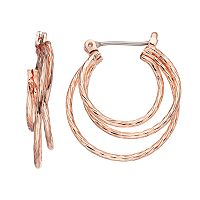 LC Lauren Conrad Twisted Triple Hoop Earrings