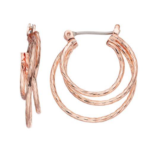 LC Lauren Conrad Twisted Triple Hoop Earrings