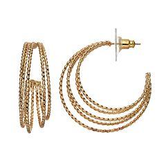 Napier Twisted Rope Layered Hoop Earrings