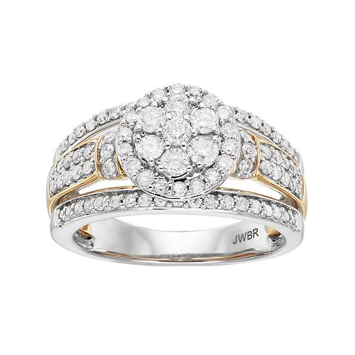 Two Tone 10k Gold 1 Carat T.W. Diamond Cluster Halo Engagement Ring