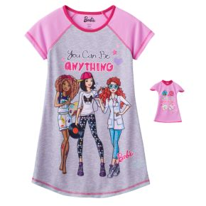 "Girls 4-10 & Doll Barbie ""You Can Be Anything"" Nightgown"