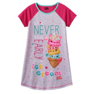 "Girls 4-10 Num Noms Connie Confetti, Nana Berry & Mintee Go-Go Scented ""It's Never Too Early For Ice Cream"" Nightgown"