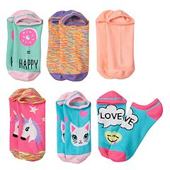 Girls 7-16 6 pkEmoji No-Show Socks