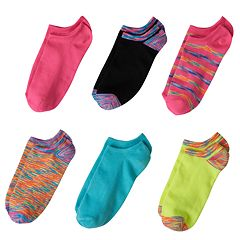 Girls 4-16 Capelli 6 pkSpace-Dyed No-Show Socks